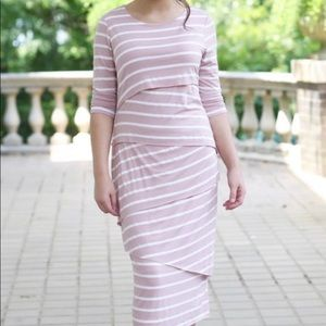 Dainty Jewell's Pink and White Striped Dress